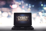 Cyber Monday label on laptop computer