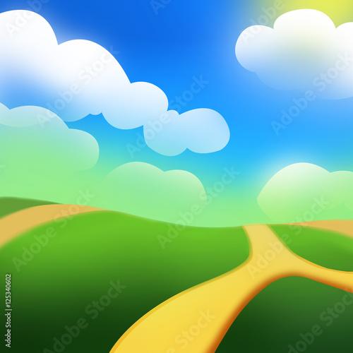 Fotobehang Boerderij The Green Hill under the Sun. Video Game's Digital CG Artwork, Concept Illustration, Realistic Cartoon Style Background