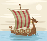 Viking ship. Vector flat cartoon illustration