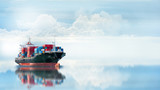 Fototapety Logistics and transportation of International Container Cargo ship in the ocean, Freight Transportation, Shipping