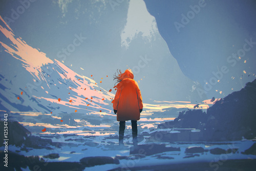 Fototapeta samoprzylepna rear view of woman with orange warm jacket standing in winter landscape,illustration painting