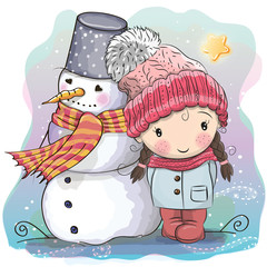 Cute Girl and snowman