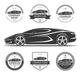 Sports car, super car silhouette with the set of car service labels, emblems, logotypes. Black vector illustration isolated on white background
