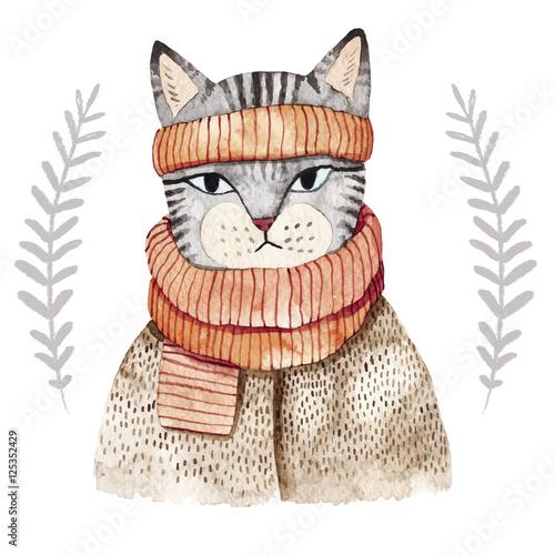 Cute cat in scarf - 125352429