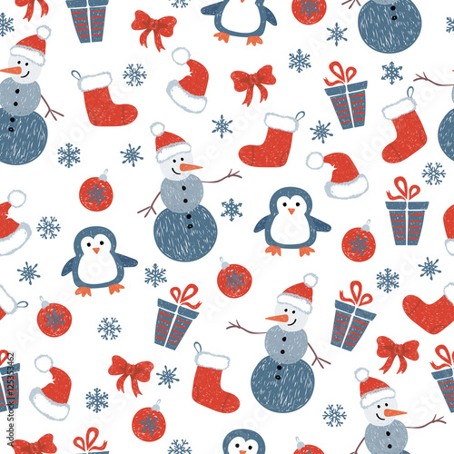 Materiał do szycia Seamless Christmas pattern with doodle decorative elements and cute characters. Vector holiday background.