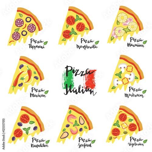 Vector set hand drawn slices of pizza popular varieties. © elenamedvedeva