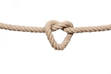 Hemp Rope Knot. Rope knot isolated on a white background, as a symbol for trust and faith or stress. - 125359630