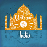 A poster on aged paper. The trip to India. An Asian country. Vector