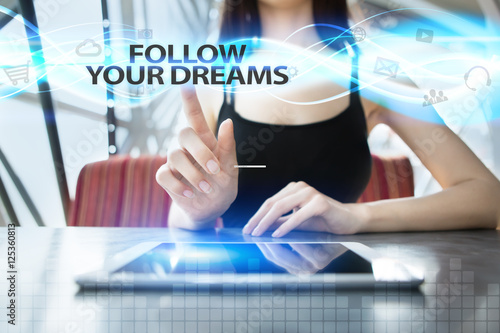 Poster Woman is using tablet pc, pressing on virtual screen and selecting follow your d