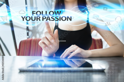Poster Woman is using tablet pc, pressing on virtual screen and selecting follow your p