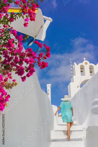 Staande foto Athene Young woman on holidays, Santorini