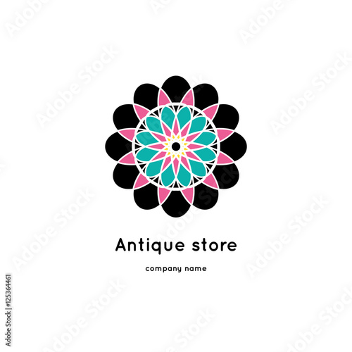 In de dag Retro sign Vector vintage mandala logo. Kaleidoscope flower. Ornamental vector symbol