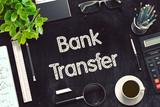 Bank Transfer on Black Chalkboard. 3D Rendering.
