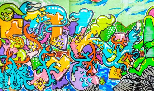 Papiers peints Graffiti Graffiti aux couleurs vives