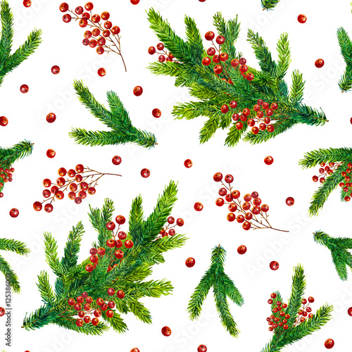 Cotton fabric Watercolor Christmas pattern with fir branches and red berries isolated on white background, watercolour hand painted seamless Christmas background for greeting card, textile, paper, wrapping, party