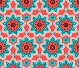 Vivid red and turquoise repetitive mandala and stars pattern