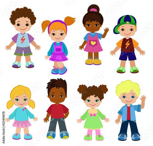 Set cartoon children, pupils. Happy kids.