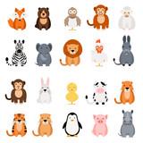Cute vector animal set on white background. Fox, bear, elephant, bear, hen, chicken, chick, rooster, lion, monkey, tiger, pig, donkey, rabbit, rhino, cow, zebra, sheep, penguin