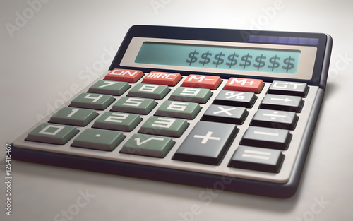 Solar Calculator Showing On The Digital Display Several Money Sign Ilration With