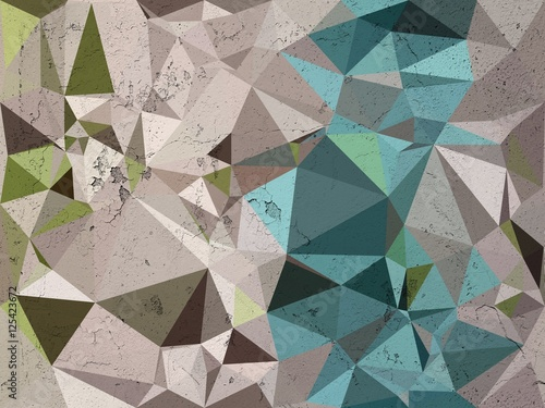 Blue and white triangle mosaic abstract background illustration - 125423672
