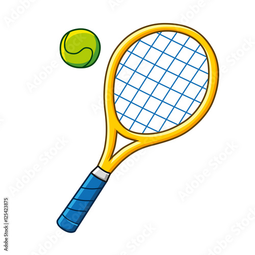 Obraz na plátně Yellow tennis racket and ball icon isolated.