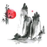 Hand drawn ink sumi-e elements: landskype, sun, bamboo. Japan tr