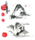 Hand drawn ink sumi-e elements: landskype, sun, temple, bamboo,