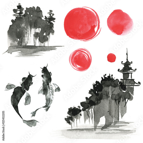 Hand drawn ink sumi-e elements: landskype, sun, temple, fich. Ja © dinkoobraz