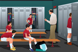 Fototapety Soccer Coach Talking to the Players in the Locker Room