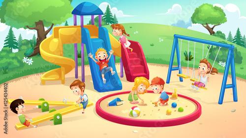 Park and playground cartoon - 125434402