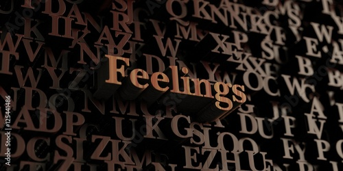 Feelings - Wooden 3D rendered letters/message.  Can be used for an online banner ad or a print postcard.