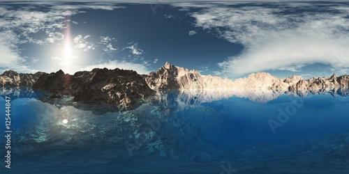 Poster panorama of mountain lake. made with the one 360 degree lense ca