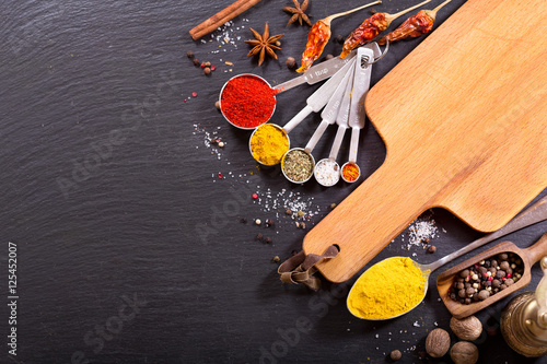 food ingredients for cooking with empty board