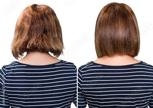 Poster Comparative portrait of damaged hair