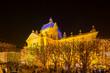 art pavilion in Zagreb festive illuminated with Christmas lights.