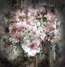Bouquet de fleurs multicolores peinture à l'aquarelle sur le plein fond de couleur
