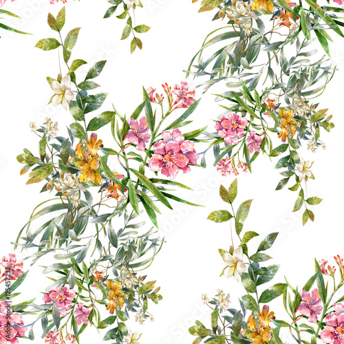 Watercolor painting of leaf and flowers, seamless pattern on white background - 125457232