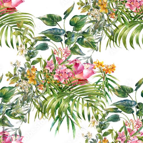 Stoffe zum Nähen Aquarell von Blatt und Blumen, nahtlose Muster auf weißem Hintergrund