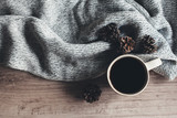 Coffee and sweater top view