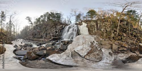 Poster Spherical panorama of waterfall near Vladivostok, Russia