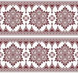 Mehndi, Indian Henna tattoo brown seamless pattern, design elements - 125471601
