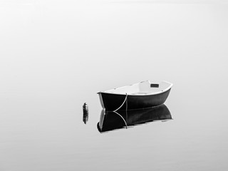 Black rowboat