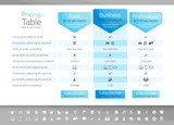 Light pricing table with 3 options. Icon set included - 125481450
