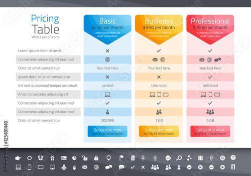 Light pricing table with 3 options. Icon set included - 125481440