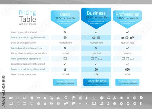 Zdjęcia na płótnie, fototapety, obrazy : Light pricing table with 3 options. Icon set included