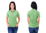Young woman in green polo shirt