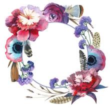 Wildflower pivoine cadre de fleurs dans un style aquarelle isolé.