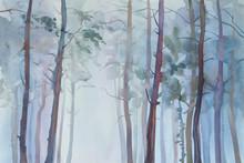 "Постер, картина, фотообои ""Foggy forest watercolor background"""