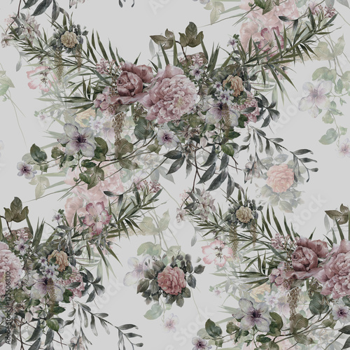 Watercolor painting of leaf and flowers, seamless pattern - 125506830