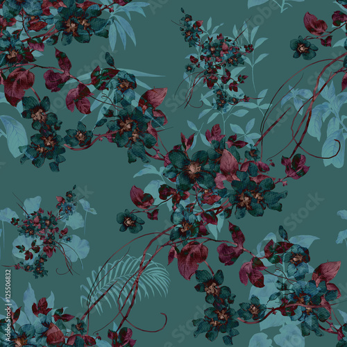 Watercolor painting of leaf and flowers, seamless pattern - 125506832